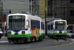 市役所前~福井駅前間にて