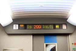 時速299km/hを表示