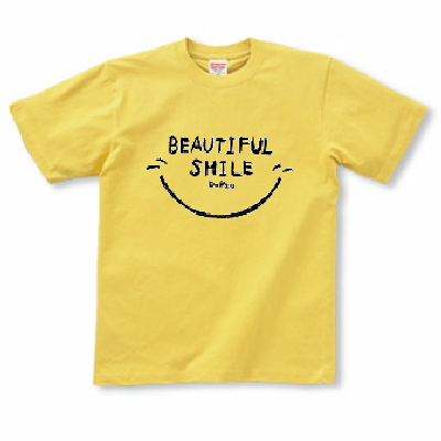 Beautiful Smile 笑顔 スマイル マーク 英語文字 Tシャツ