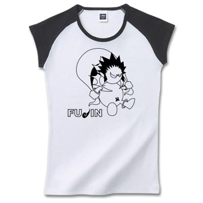 雷神、風神 白黒 オリジナルデザイン キャラクター Tシャツ