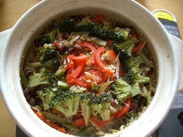 春野菜と豆のパエリア
