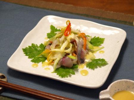 アジとセロリのサラダ味噌マヨ1