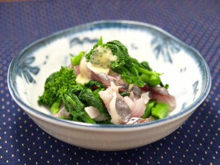 鯵と菜の花の辛子醤油レシピ1
