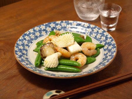 スナップエンドウの海鮮塩炒め7