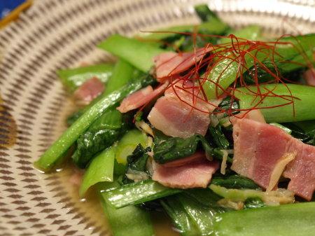 生姜風の小松菜ベーコン炒め7
