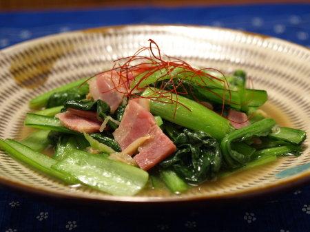 生姜風の小松菜ベーコン炒め9