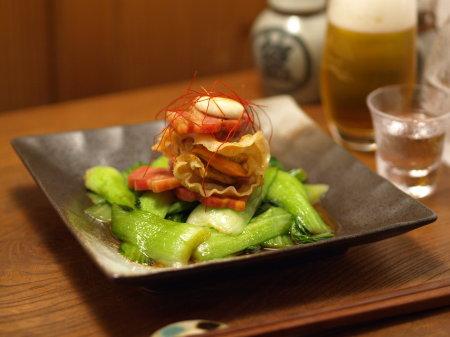 ホタテと青梗菜ベーコンバター10
