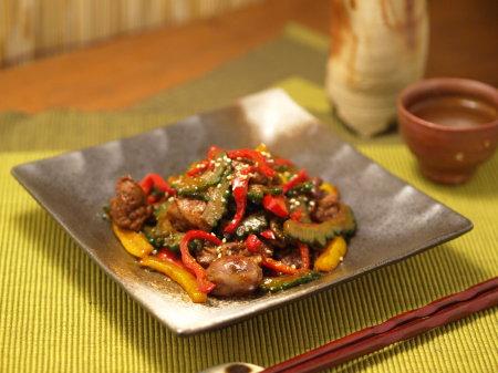 鶏肝とゴーヤーの中華甘辛13