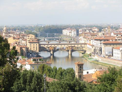 イタリアフィレンツェ ミケランジェロ広場 ヴェッキオ橋