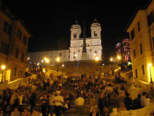 イタリア ローマ スペイン階段 夜