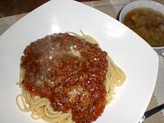 ミートスパゲティー&野菜スープ
