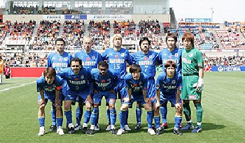21 Apr 06 - Oita line up prior to their 4-1 defeat at Shimizu S-Pulse