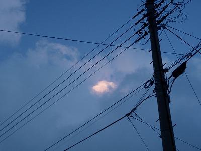 電柱越しに見上げた空