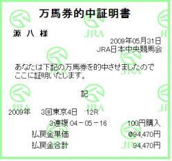 09目黒記念 万馬券証明書