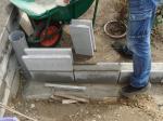 物置基礎土留めブロック施工