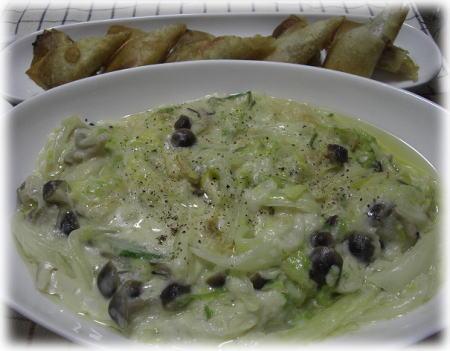白菜・きのこ・帆立のクリーム煮。