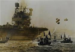 米空母ミッドウェーを取り囲む海上デモ