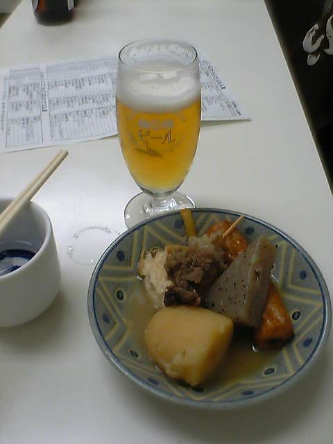 おでんと梅錦ビール