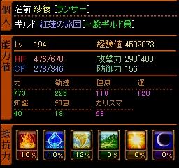 槍ステ Lv194