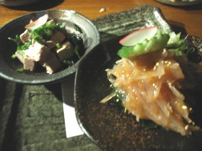 独楽のサメの軟骨梅肉あえとフォアグラぽん酢