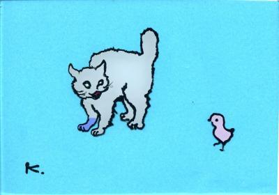 185 鳥vs猫