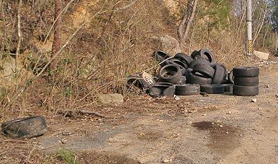 入口付近に転がってたタイヤ