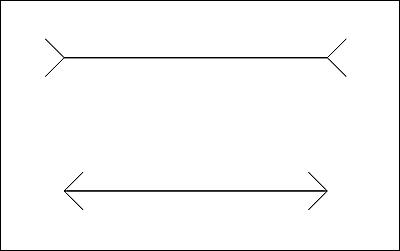 同じ長さのはずが錯覚によって異なって見える