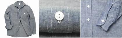 【Back Drop】Chambray L/S Shirt シャンブレーシャツ