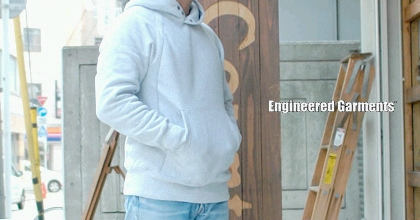 エンジニアードガーメンツ(Engineered Garments )の「リバースウィーブ・フーディ(Reverseweave Hoody)」。