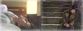 ベッドのムヒョクと階段のウンチェ