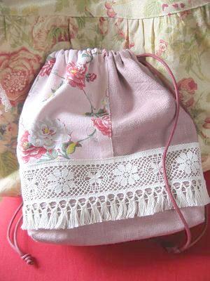 ①バラの巾着袋 001