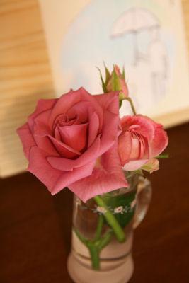 【おうちギャラリー】ヒサちゃんの絵とバラ