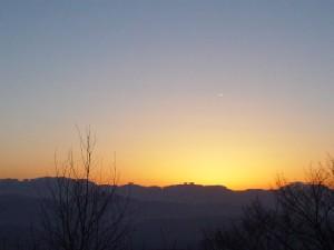 スキー場からの夕日