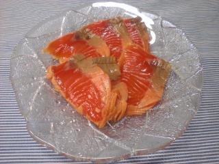 サーモンの麺つゆレモンヅケ