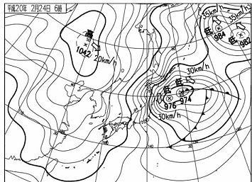 2008年2月24日06時 天気図