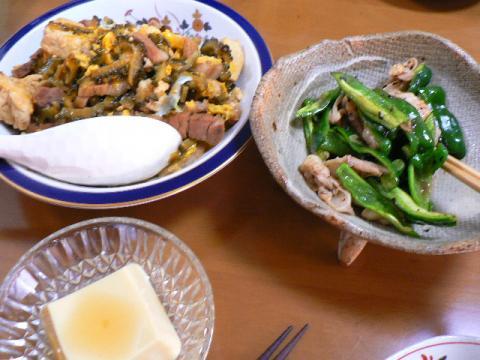 2007年7月23日夕食 ゴーヤチャンプル・鶏軟骨炒め・玉子豆腐