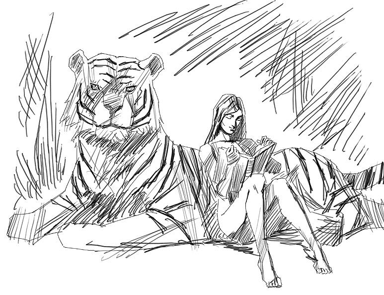 トラと女の子