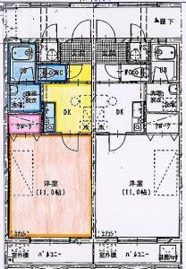 広い11帖の洋室