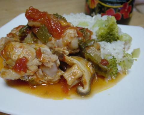 チキンのトマト煮ブロッコリーご飯