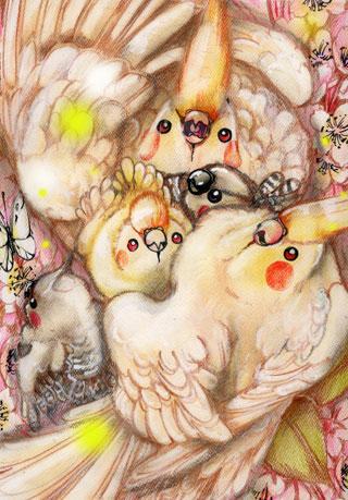 桜とオカメインコ親子WEB