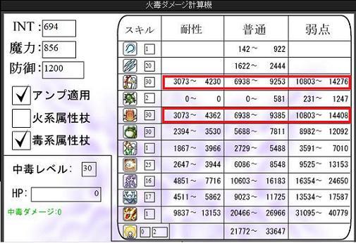 139レベル火毒魔ダメージ計算表