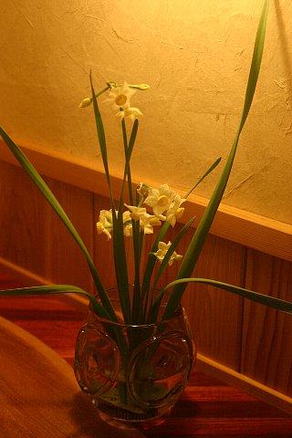 雪景色と店内の花-2 016
