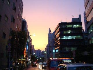 夕日の渋谷