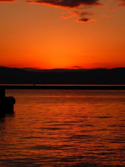 錦江湾の夕日