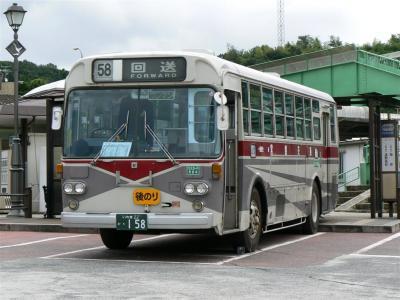 湯本駅前に停車中の158号車(いすずCJM500)