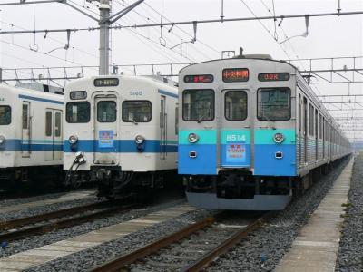 5050型は栃木⇔東武宇都宮表示、東急8500系は急行中央林間表示で展示