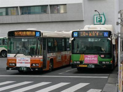 PASMOが利用できない東武バス足立営業所所属車両には千住~羽田線のPR横断幕を掲出