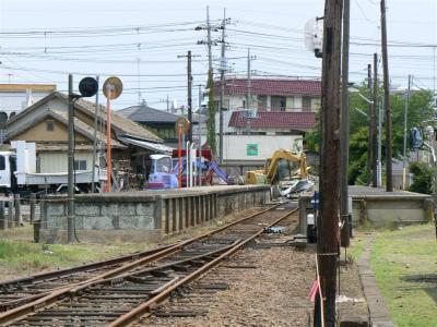 解体作業が行われていた鉾田駅駅舎