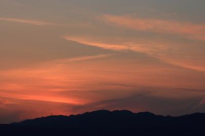 日没直後の空(六甲山方面)@下河原緑地公園展望台(by EF100-400)