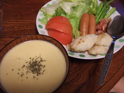コーンスープ+ボーゼのムニエル